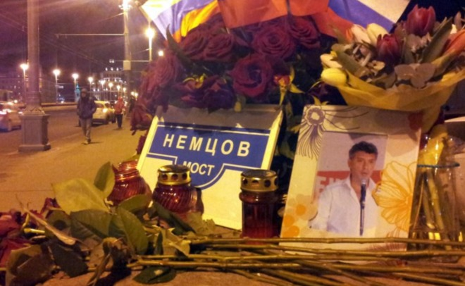 За пару минут  до гибели  Немцов попал вобъектив видеорегистратора