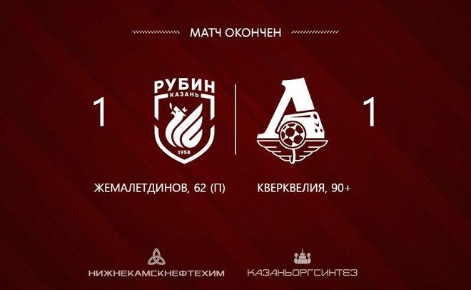 «Локомотив» вырвал ничью с«Рубином» идогнал «Зенит» втаблице РФПЛ